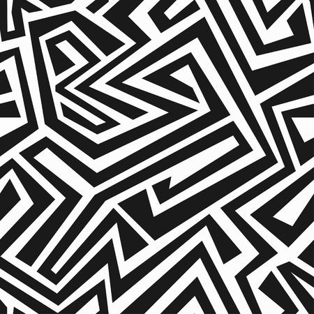 Naadloze: monochrome tribale doolhof naadloze textuur Stock Illustratie