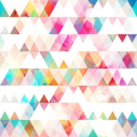 regenboog driehoek naadloze patroon met grunge effect Stock Illustratie
