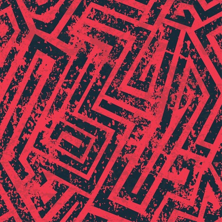 red industrial maze seamless pattern with grunge effect Vector