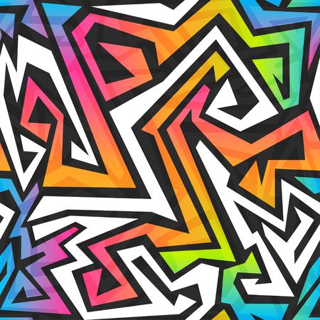 スペクトル色の落書きのシームレスなパターン  イラスト・ベクター素材