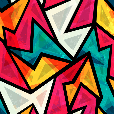 abstract colorful geometric seamless pattern with grunge effect Illustration