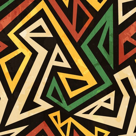 motive: african geometric seamless pattern with grunge effect