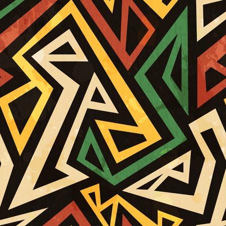 geometricos: africano sin fisuras patrón geométrico con efecto grunge
