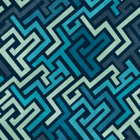 blue labyrinth seamless texture with grunge effect Vector