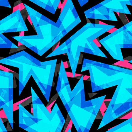 blue neon geometric seamless pattern