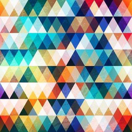 グランジ効果の明るい三角形のシームレスなパターン  イラスト・ベクター素材