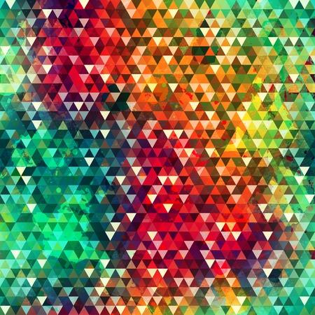 カラフルな三角形シームレス テクスチャ グランジ効果  イラスト・ベクター素材