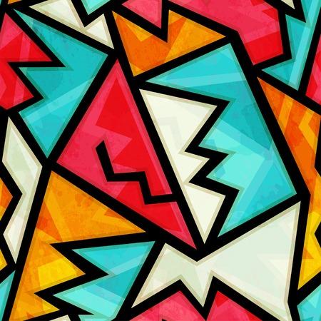 グランジ効果とカラフルな幾何学的なシームレス パターン落書き