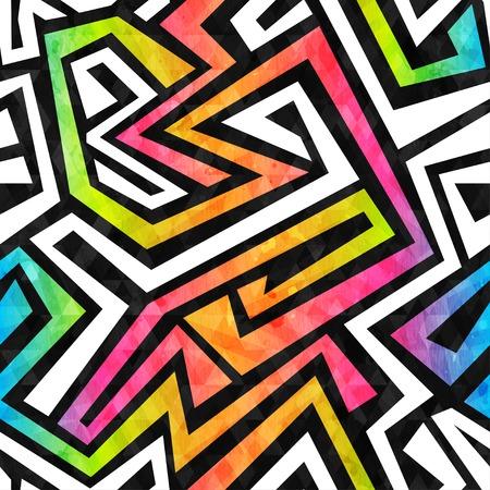 crazy: graffiti maze seamless pattern with grunge effect Illustration