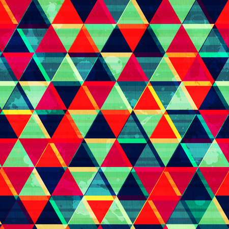 retro triangle mosaic seamless pattern with grunge effect Vector