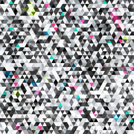 grid black background: urban triangle seamless pattern with grunge effect
