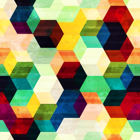 mural: vintage rhombus seamless pattern with grunge effect