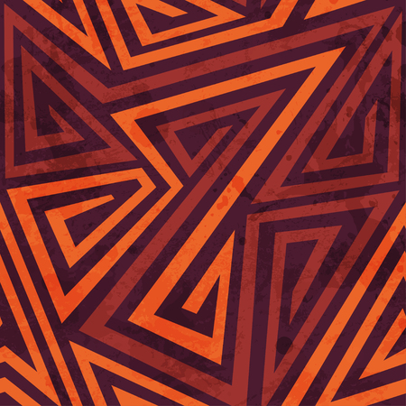 african fashion: warm color tribal seamless pattern with grunge effect Illustration