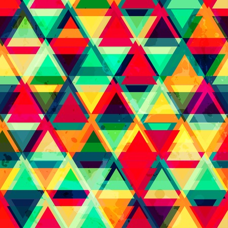 hipster triangle seamless pattern with grunge effect Vector