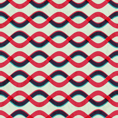 curved line: retro curved line seamless pattern with paper effect Illustration