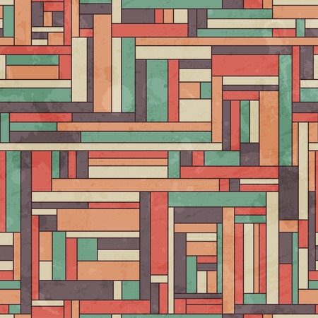 retro square seamless pattern with grunge effect Vector