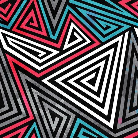grunge triangle spirals seamless pattern Vector