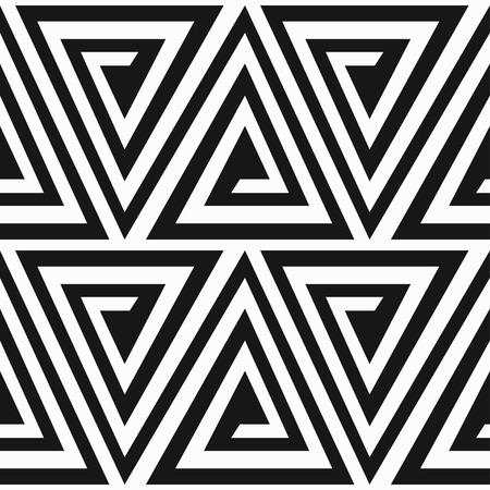 モノクロの古代三角スパイラル シームレスなパターン