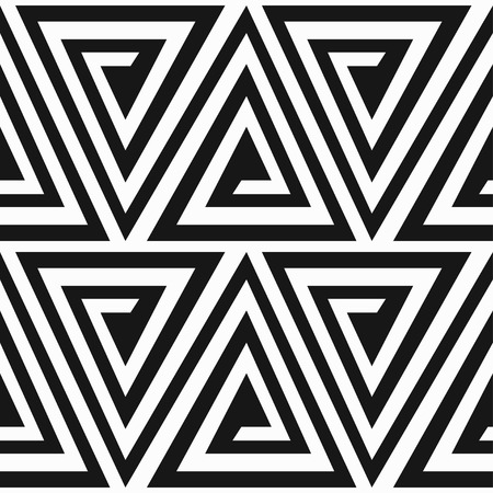 monochrome ancient triangle spiral seamless pattern Vettoriali