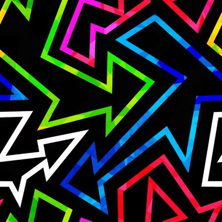 simplistic: neon geometric seamless pattern with grunge effect Illustration