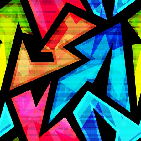 blue grunge background: neon geometric seamless pattern with grunge effect Illustration
