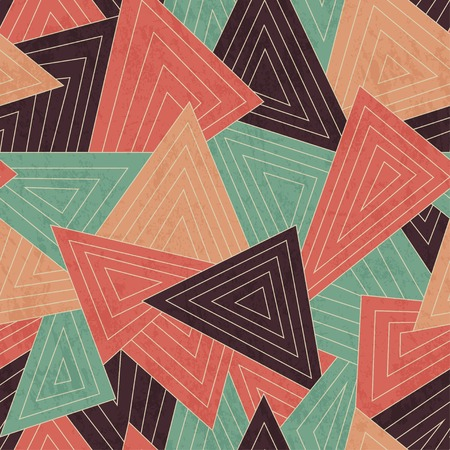 retro scattered triangle seamless pattern with grunge effect Vector