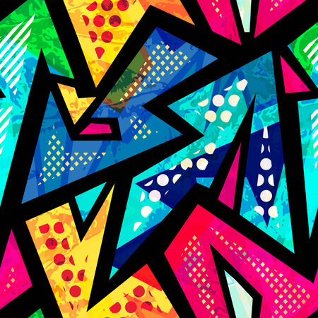urban grunge: funny geometric seamless pattern
