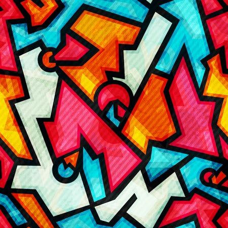 urban grunge: graffiti seamless pattern with grunge effect