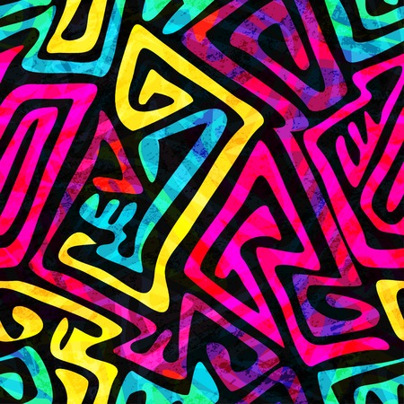 urban style: psychedelic seamless pattern with grunge effect