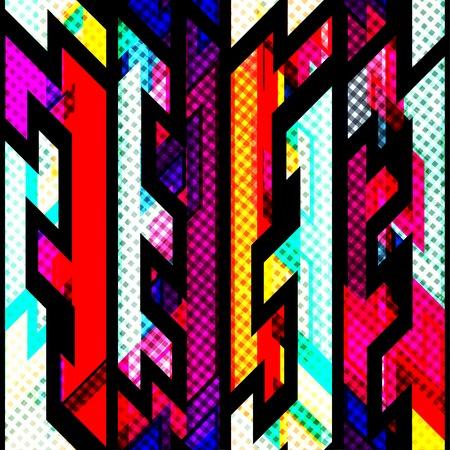 bright geometric seamless pattern with grunge effect Illustration