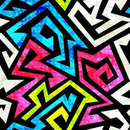 graffiti geometric seamless pattern with grunge effect Vector