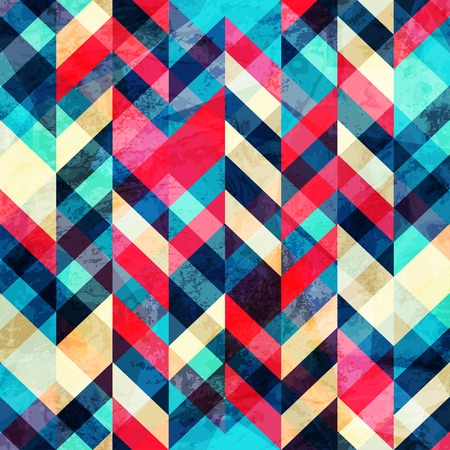 hipster zigzag seamless pattern with grunge effect Vector