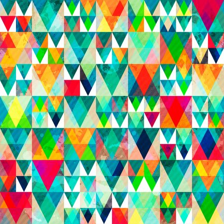 watercolor triangle seamless pattern with grunge effect Vector