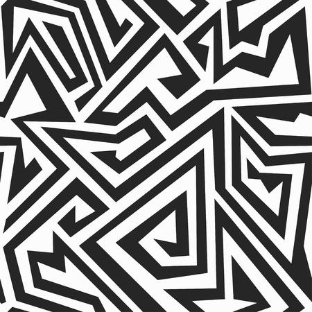 monochrome maze seamless pattern