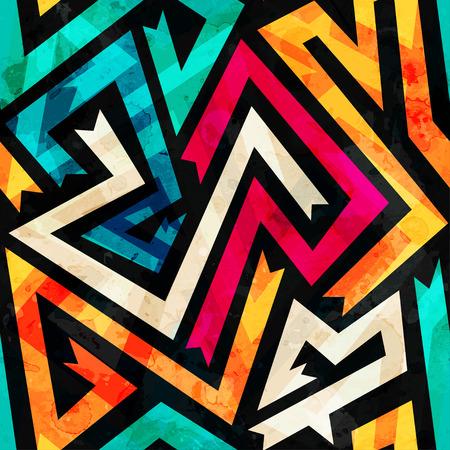 music maze seamless pattern with grunge effect Illustration
