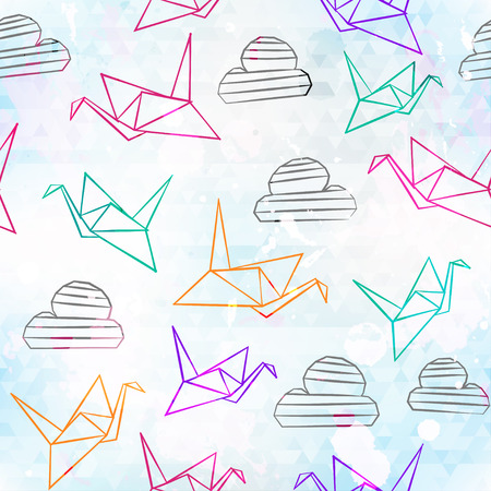 origami pattern: origami seamless pattern with grunge effect Illustration