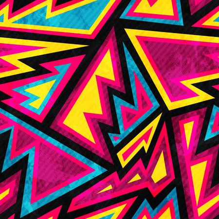 graffiti: psicodélico patrón transparente geométrica de color