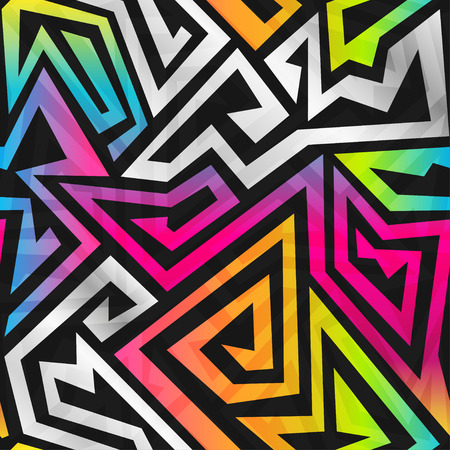 geometric pattern in a square: rainbow maze seamless pattern