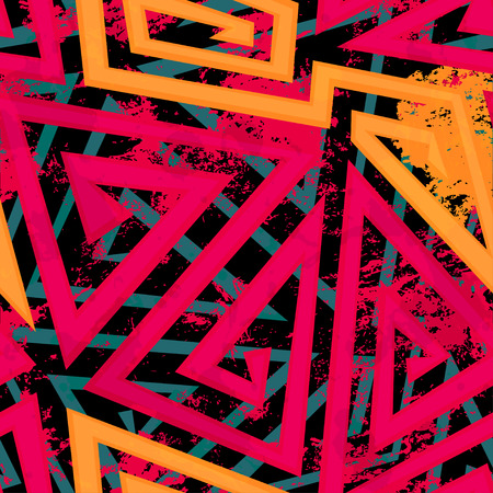 red maze geometric seamless pattern with grunge effect Vector