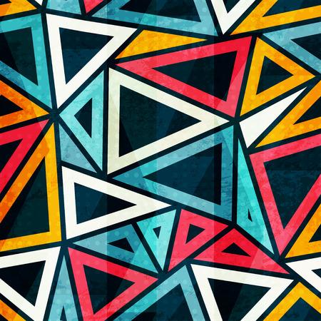 レトロな三角形のシームレス パターン  イラスト・ベクター素材