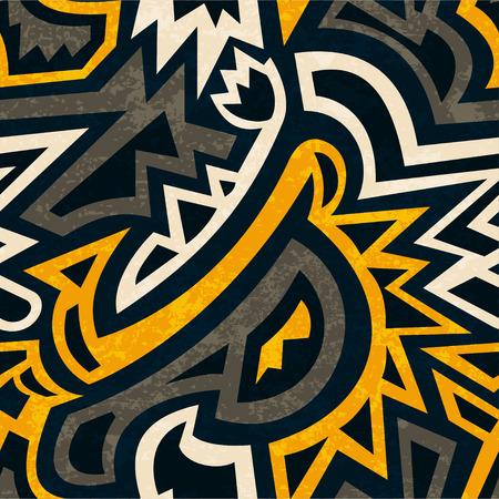 グランジ効果とアフリカの幾何学的なシームレス パターン