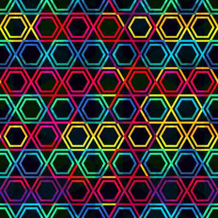 neon mosaic seamless pattern with grunge effect Vector