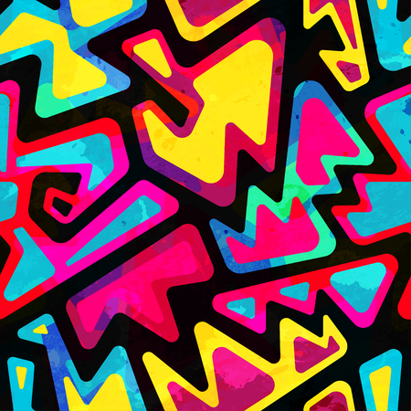 psychedelic colored seamless pattern with grunge effect 일러스트