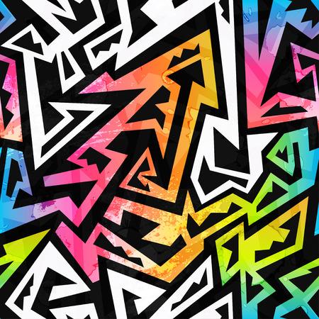 rainbow color geometric seamless pattern Illustration