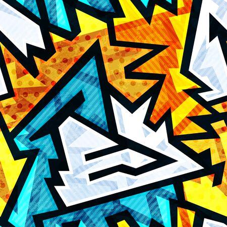 Graffiti: bright graffiti geometric seamless pattern