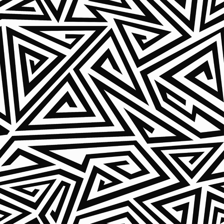 illusions: monochrome spiral triangle seamless pattern