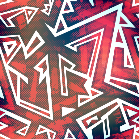 grunge music background: red graffiti seamless pattern with grunge effect
