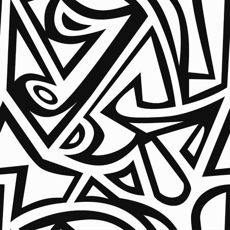 monochrome graffiti seamless pattern
