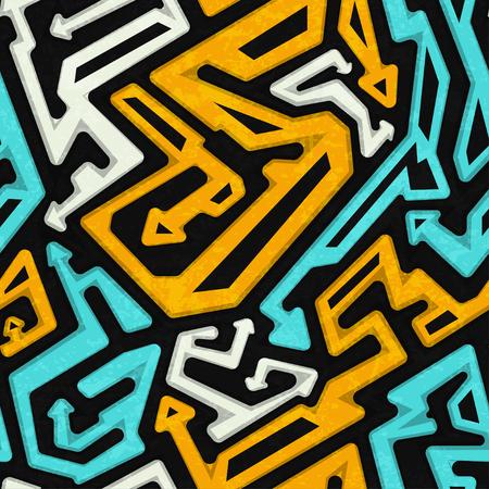graffiti: grafiti patrón transparente geométrica con efecto grunge Vectores