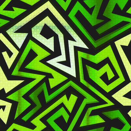 manic: green maze seamless pattern